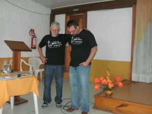 Praying with the leader of LBM Brazil